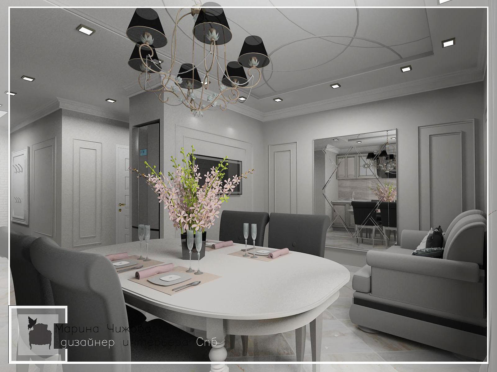 Дизайн гостиной 1017 Дизайнер интерьера спб Марина Чижова