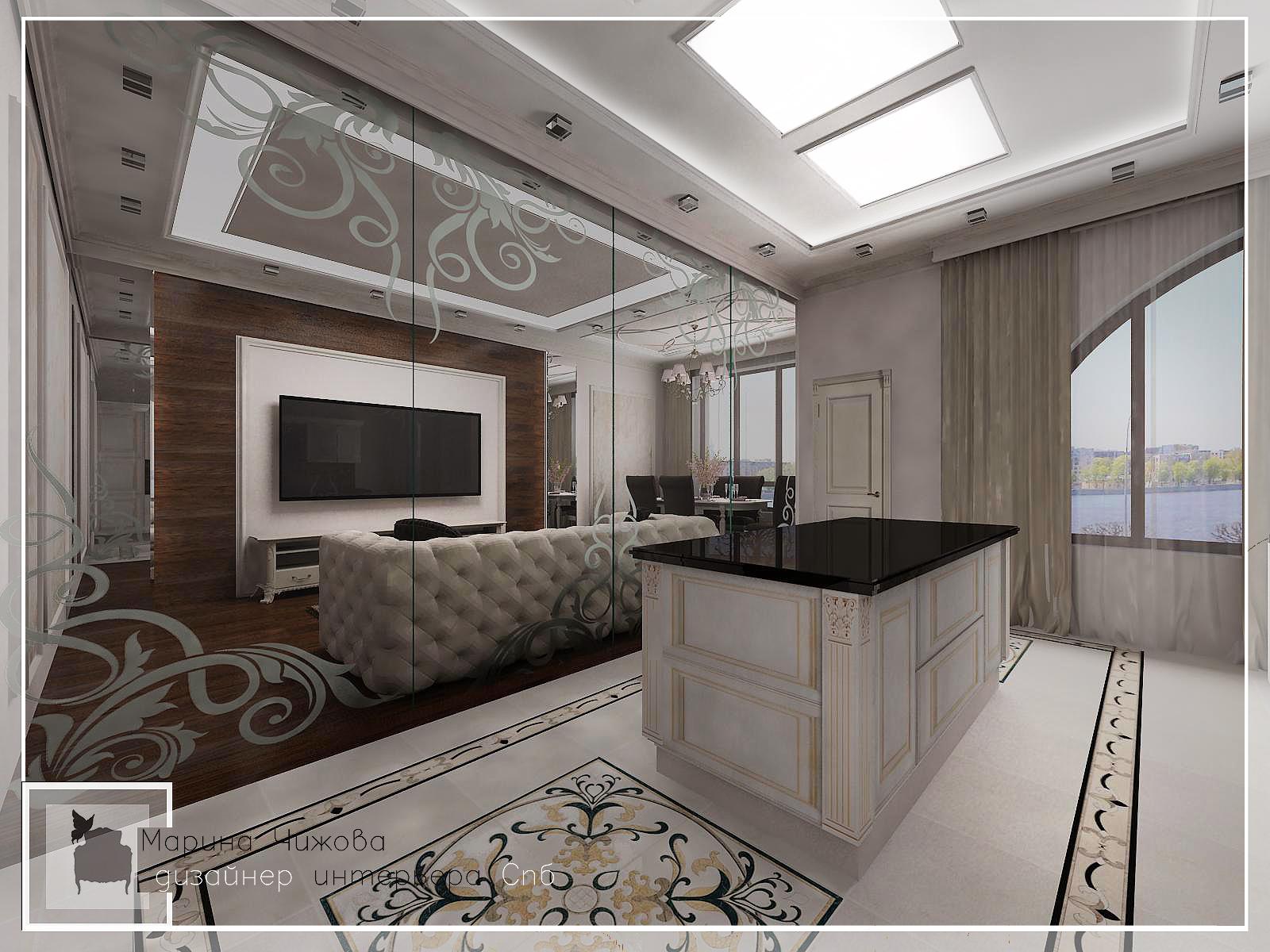 Дизайн гостиной Пискаревский пр. д1