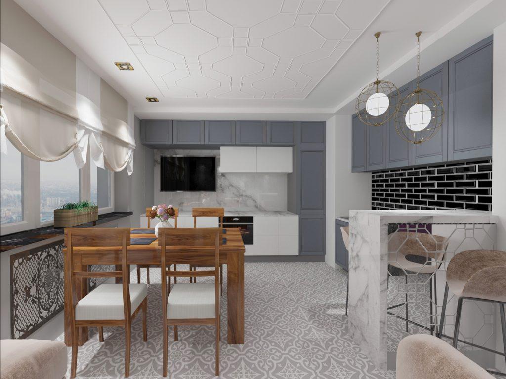 Дизайн квартиры в серых тонах. Кухня.